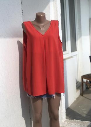 Туника красная морковная туніка майка червона морковна кирпичная, блуза с вырезом