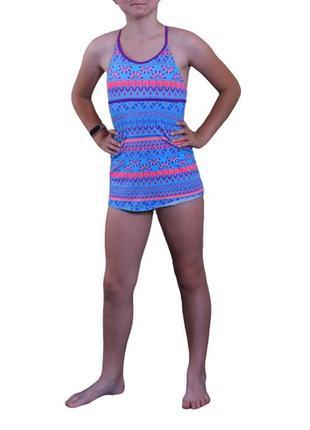 Яркий бирюзовый слитный купальник с юбочкой