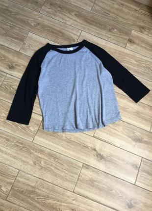 Лонгслив футболка с рукавами серая с черным, хлопок