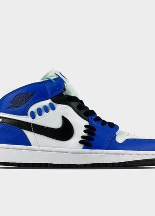 Кроссовки nike air jordan 1 blue white