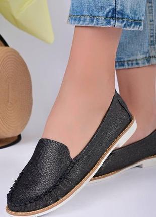 Мокасины туфли женские серые т1348