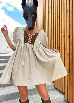Льняное стильное свободное платье с шнуровкой и рукавами буфами лён