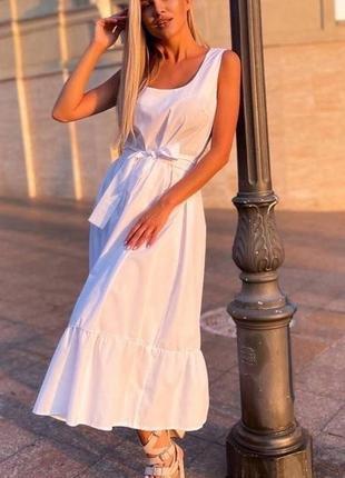 Хлопковое белое платье миди с поясом и расклешенной юбкой  котон хлопок