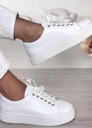 Кеды натуральная кожа белые, кеды кожаные белые на высокой платформе, кроссовки кожаные белые, криперы белые