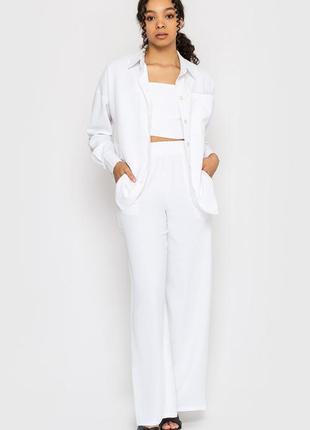 Летний костюм 4-ка (четверка) оверсайз: рубашка, топ, шорты, штаны. лето 2021