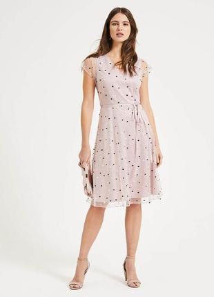 Phase eight платье пудровое розовое с поясом миди с чехлом сеточкой горошек горох
