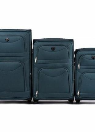 Комплект тканевых чемоданов на 2 колёсах 3 в 1 (s, m, l) wings 6802 ( зеленый / green )