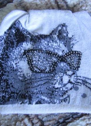Для девочки тёплая шапка кот в очках 50-56 cм