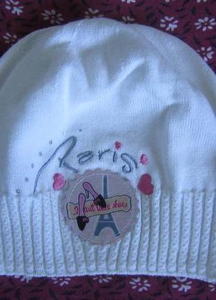 Для девочки белая деми шапка arctic париж 50-56 см