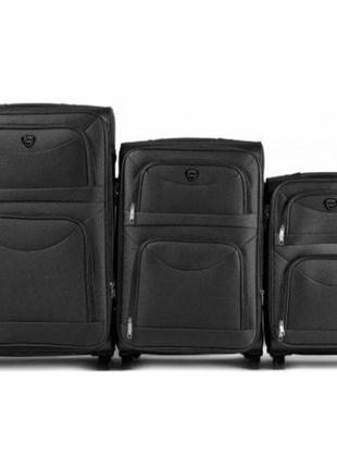 Комплект тканевых чемоданов на 2 колёсах 3 в 1 (s, m, l) wings 6802 ( черный / black )