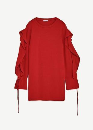 Стильное платье красное zara рюш / большая распродажа!