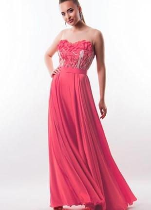 Шикарное вечернее атласное длинное платье фирмы seam