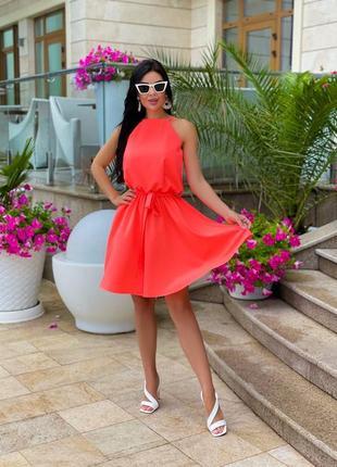 Короткое платье с поясом на лето голубое, беж неон
