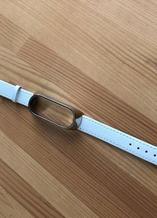 Браслет белый кожаный / шкіряний білий ремінь для xiaomi mi band 5