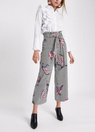 Широкие брюки кюлоты палаццо высокая посадка принт цветы river island