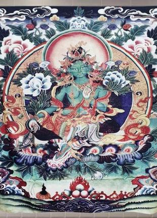 Картина текстильная гобелен на стену тара зеленая буддизм