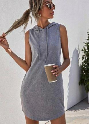 Платье с капюшоном двунить