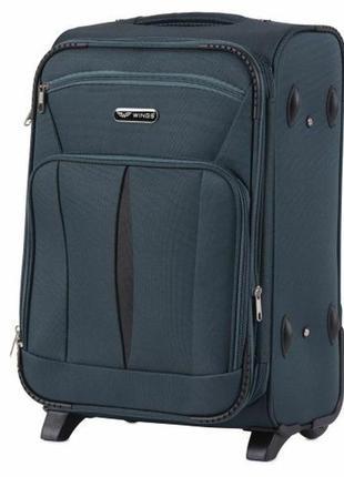 Чемодан дорожный (дорожная сумка) тканевый на 2 колёсах маленький 1601 s wings  ( зеленый / green )
