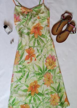Шифоновое платье плаття сукня сарафан миди в цветочный принт на тонких бретельках