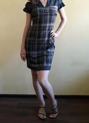 Классическое платье в клетку в школу, университет, офис 38-40 р