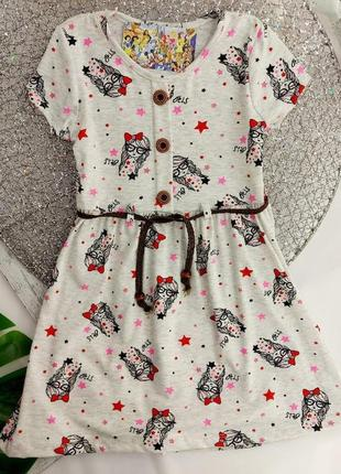 Котонова сукня для дівчинки від 2 до 6 років