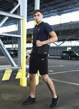 Комплект летний спортивная футболка nike шорты + барсетка в подарок