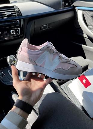 Женские кроссовки спортивные nb 327 pink white нежнейшие