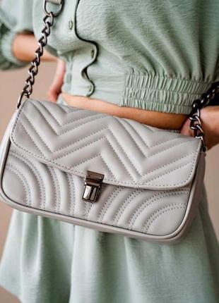 Женская молодежная сумка клатч с цепочкой aliri-645-01 серая