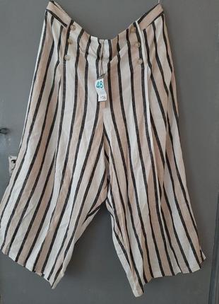 Укороченные  льняные брюки батал жля полной