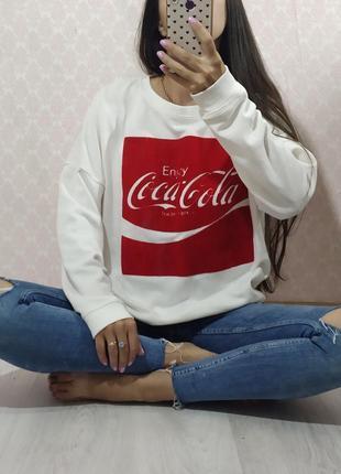 Белый оверсайз свитшот/кофта кока - кола coca-cola