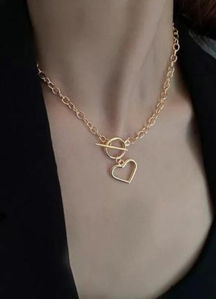 Многослойная цепочка цепь на шею с кольцом колье жемчуг подвеска сердечко чокер ланцюжок кулон