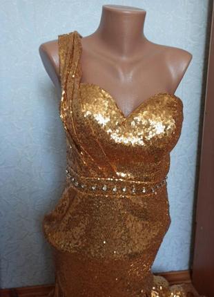 Платье золото пайетка золотая вечернее випускное свадебное вечірня сукня