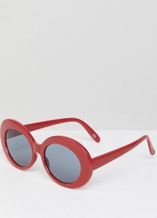 Новые солнцезащитные очки красные овальные круглые в стиле ретро asos