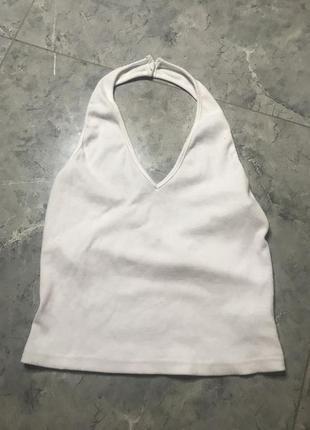 🆘🔥 ликвидация товара🆘🔥    белая базовая майка через шею
