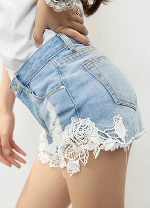 Распродажа стильные джинсовые шорты с ажурными вставками от papaya