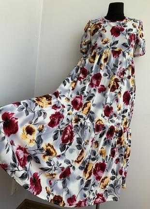 Платье летнее ярусами 42-48 софт распродажа
