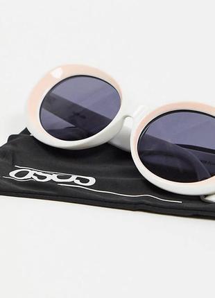 Asosновые белые солнцезащитные очки овальные asos