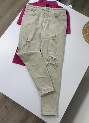 Бежевые джинсы zara высокая посадка новая коллекция
