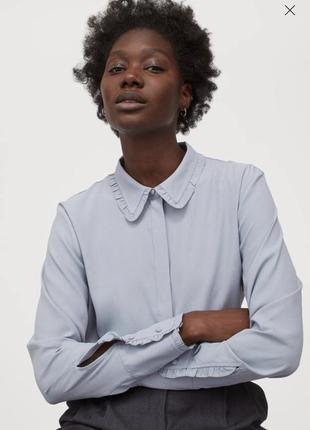 Блуза рубашка h&m с актуальным воротником s