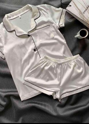 Белая шелковая пижама армани шелк на пуговицах рубашка и шорты