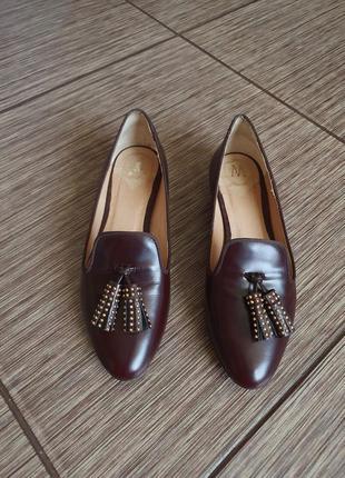 Кожаные лоферы, туфли с кисточками от massimo dutti, оригинал