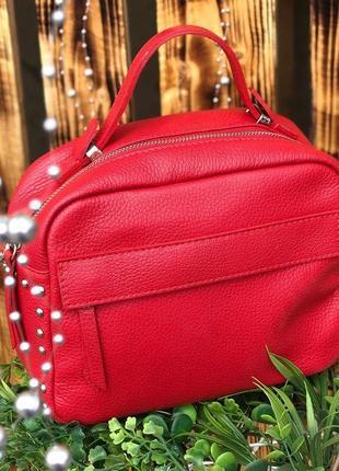 Итальянская сумка из натуральной кожи красная кроссбоди італійська шкіряна сумочка червона
