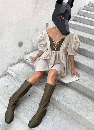 Шикарное платье мини свободного кроя лён