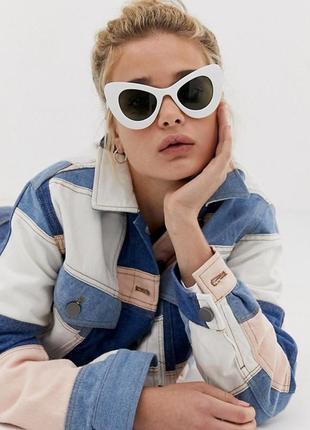 Новые солнцезащитные очки кошачий глаз массивные белые с зелёными линзами svnx