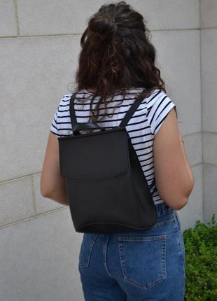 Кожаный рюкзак сумка / экокожа / трансформер / мужской женский