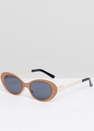 Эксклюзив новые солнцезащитные очки овальные круглые золотые asos