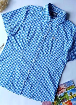 🆂🅰🅻🅴 сорочка на короткий рукав у клітинку qmc, спортивная голубая рубашка в клетку jack wolfskin uv shield