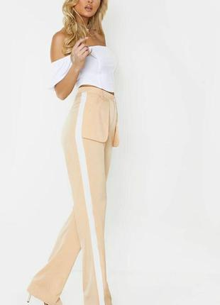 Брюки высокая талия с лампасами 🔥prettylittlething🔥 прямые брюки с разрезами