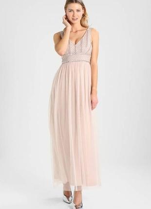 Вечернее нарядное платье в пол lace & beads р. м на выпускной свадьбу сукня