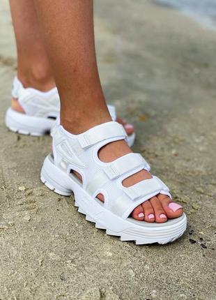 Стильные женские летние сандали босоножки белые fila